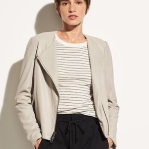 Vince Cross Front Leather Jacket in Greystone, S